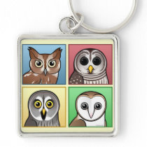 Four Color Owls (pastel) Keychain