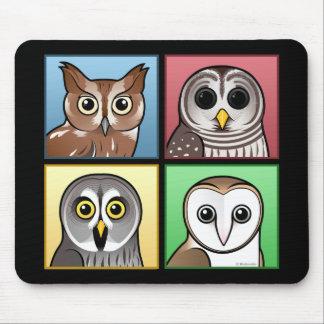 Four Color Owls (pastel) Mouse Pad