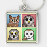 Four Color Owls (pastel) Silver-Colored Square Keychain