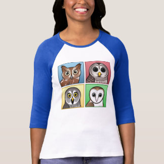 Four Color Owls (pastel) T-Shirt