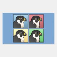 Four Color Peregrine Falcon Rectangle Sticker