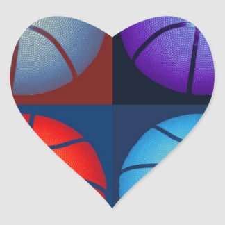 Four Color Pop Art Basketball Heart Sticker