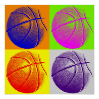 Four Color Pop Art Basketball Retro Style Poster