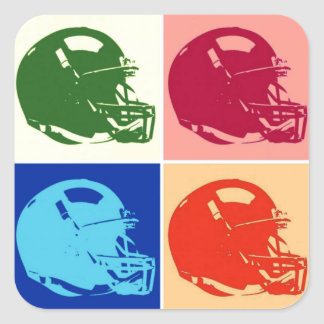 Four Color Pop Art Football Helmet Sticker