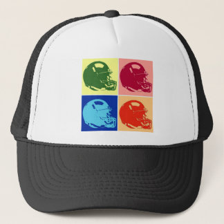 Four Color Pop Art Football Helmet Trucker Hat