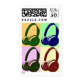 Four Color Pop Art Headphone Stamp Postage