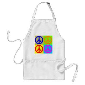 Four Color Pop Art Peace Sign Adult Apron