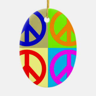 Four Color Pop Art Peace Sign Ceramic Ornament