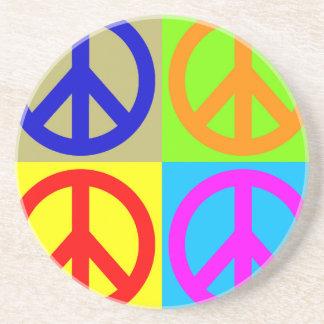 Four Color Pop Art Peace Sign Coaster