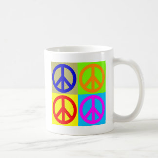 Four Color Pop Art Peace Sign Coffee Mug