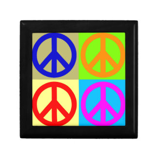 Four Color Pop Art Peace Sign Jewelry Box