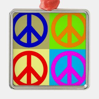 Four Color Pop Art Peace Sign Metal Ornament