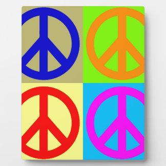 Four Color Pop Art Peace Sign Plaque