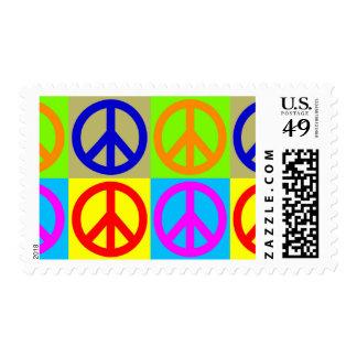 Four Color Pop Art Peace Sign Postage