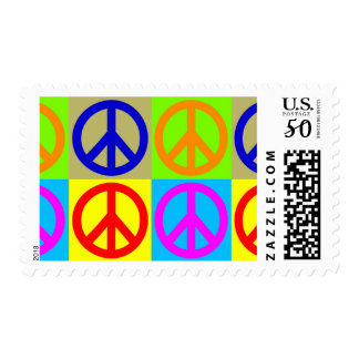 Four Color Pop Art Peace Sign Postage