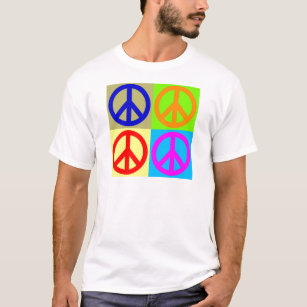 four_color_pop_art_peace_sign_t_shirt r9c2fa0d9179140eb9054331ae333a01c_k2gr0_307 classic groovy historical america t shirts & shirt designs zazzle