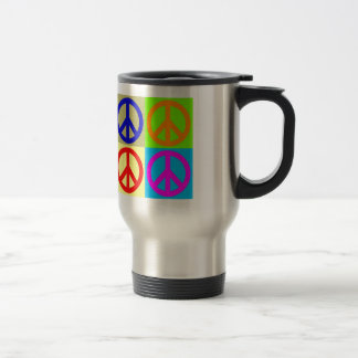 Four Color Pop Art Peace Sign Travel Mug