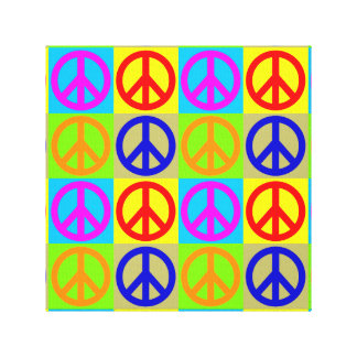 Four Color Pop Art Peace Sign Wrapped Canvas