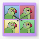 Four Color Rose-ringed Parakeet Clocks