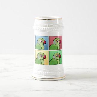 Four Color Rose-ringed Parakeet 18 Oz Beer Stein