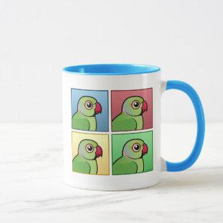 Four Color Rose-ringed Parakeet Mug