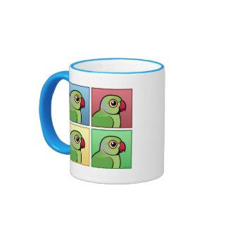 Four Color Rose-ringed Parakeet Ringer Coffee Mug