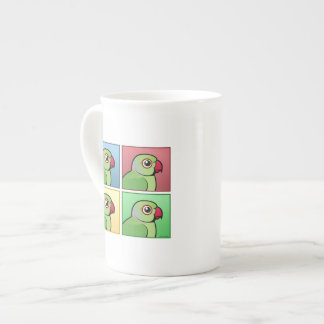 Four Color Rose-ringed Parakeet Tea Cup