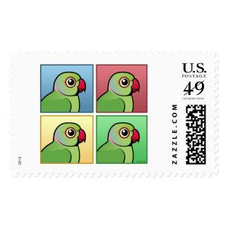 Four Color Rose-ringed Parakeet Stamp