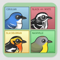 Four Color Warblers Square Sticker