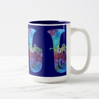 Four Color-washed Tubas Two-Tone Coffee Mug