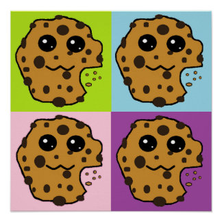 Four colored Chocolate chip cookies Print