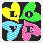 Four Colored Hearts Square Sticker