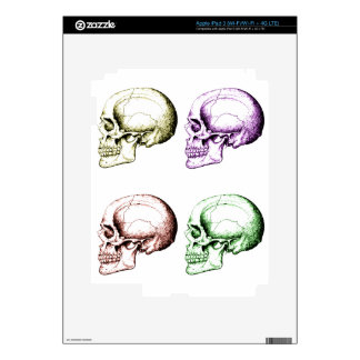 Four colored human skulls decals for iPad 3