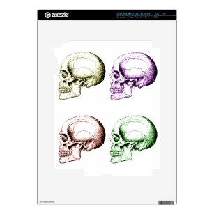 Four colored human skulls iPad 3 decal