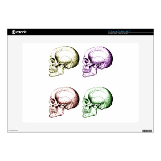 """Four colored human skulls decals for 15"""" laptops"""