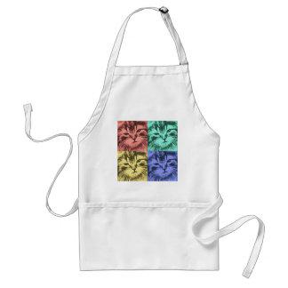 Four colorful cats apron