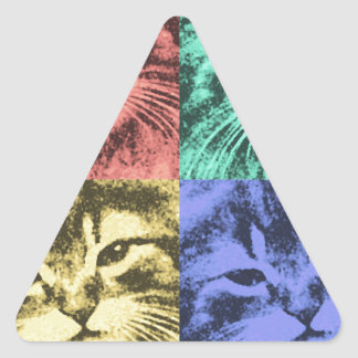 Four colorful cats triangle sticker