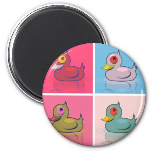 Four Colorful Ducks Magnets