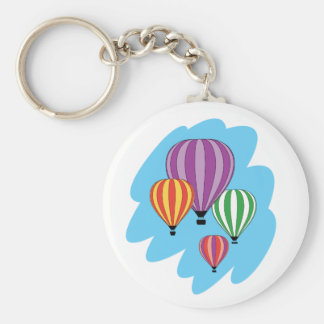 Four Colorful Hot Air Balloons Keychain