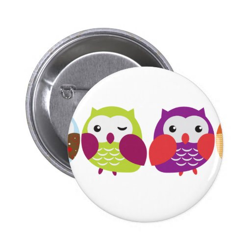 Four Colorful Owls 2 Inch Round Button