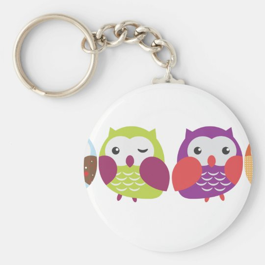 Four Colorful Owls Keychain
