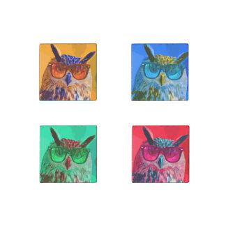 Four colorful owls pop-art stone magnet
