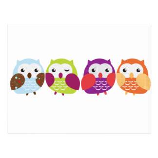 Four Colorful Owls Postcard