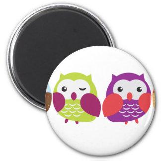 Four Colorful Owls Refrigerator Magnet