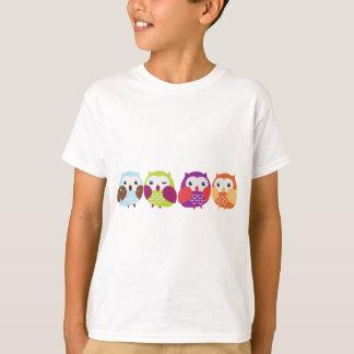 Four Colorful Owls T-Shirt