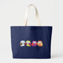 Four Colorful Owls Tote Bags