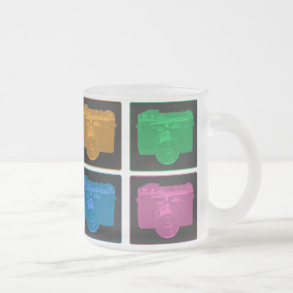 Four Colorful Retro Cameras 10 Oz Frosted Glass Coffee Mug