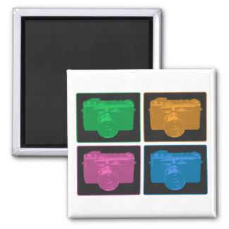 Four Colorful Retro Cameras 2 Inch Square Magnet