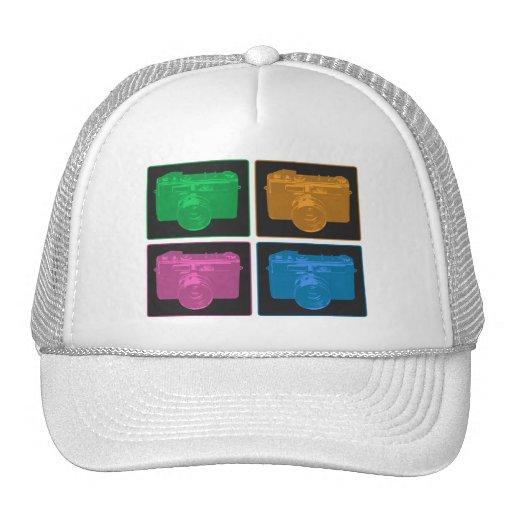 Four Colorful Retro Cameras Mesh Hats