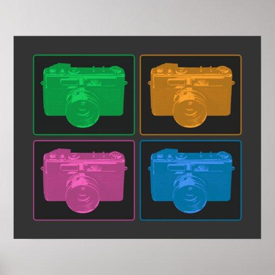 Four Colorful Retro Cameras Poster